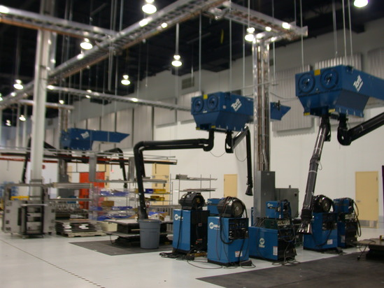 Weld fume capture system with Torit T-2000 collectors